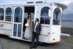 white trolley at marina del ray